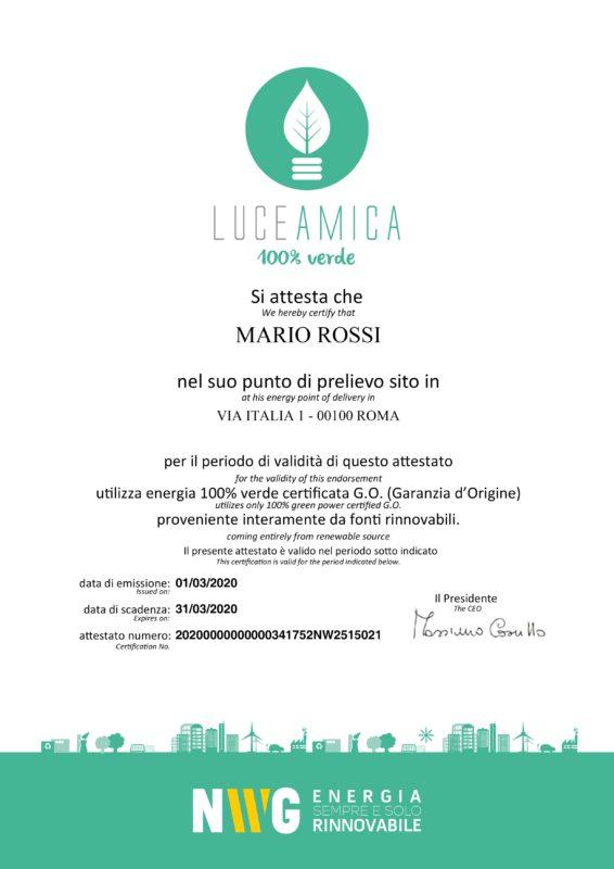 certificato green